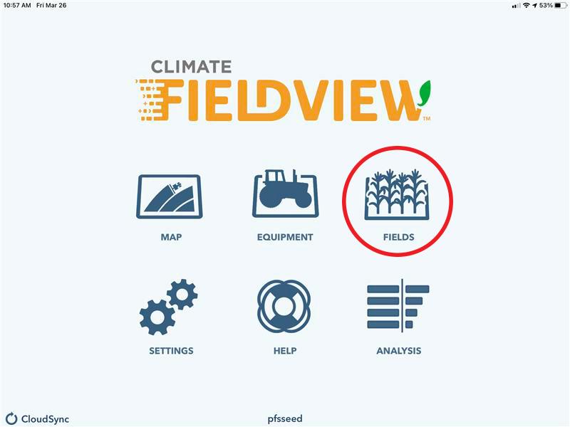 Climate FieldView home screen - Fields