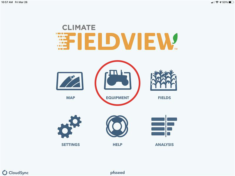 Climate FieldView app home screen - Equipment