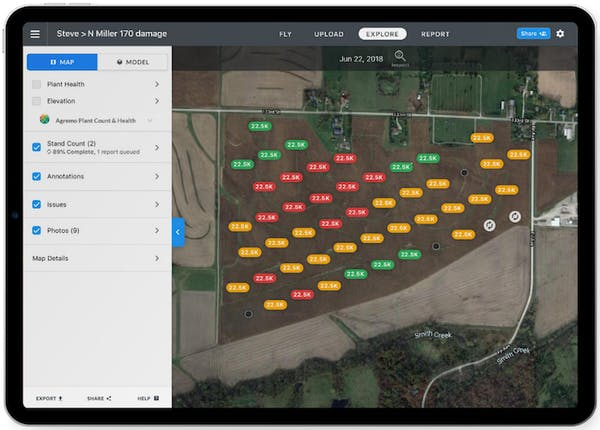 Drone stand count map on and iPad